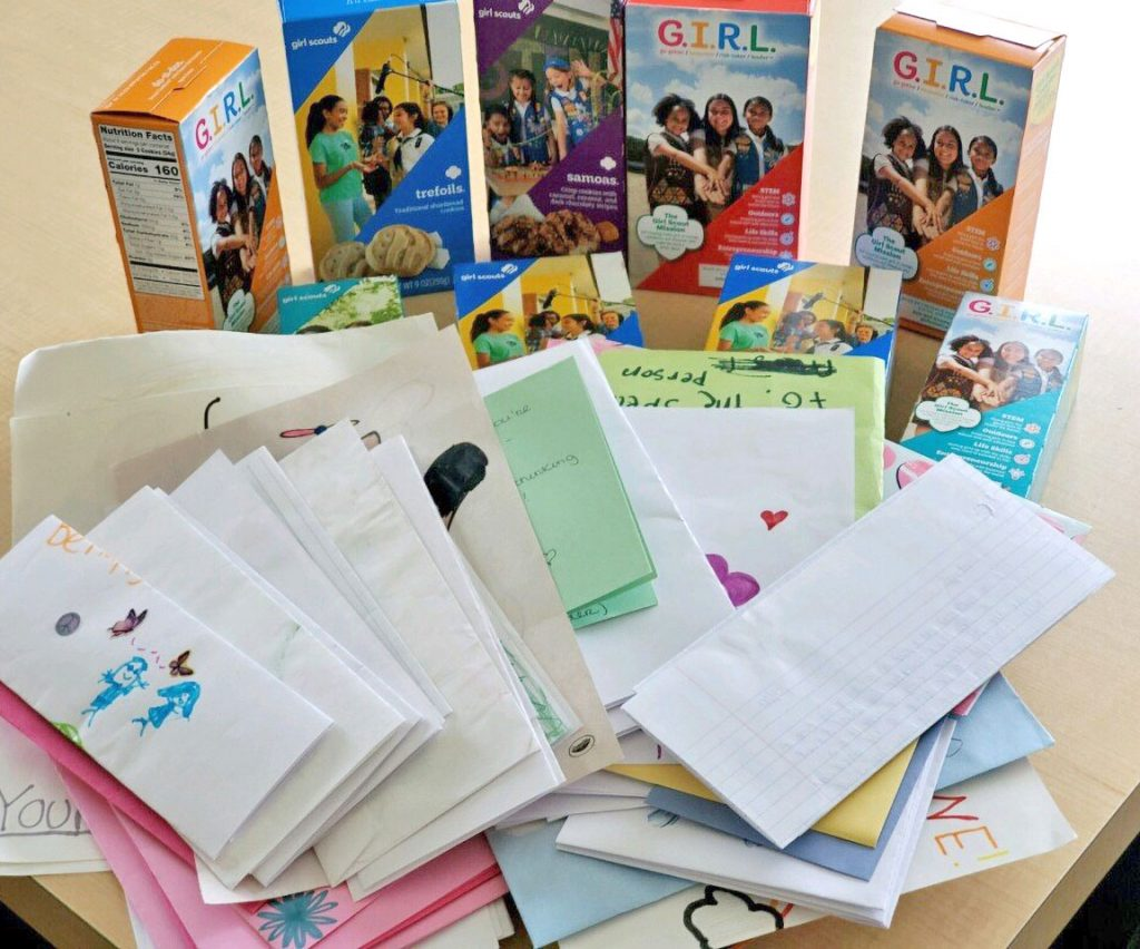 Cookies and letters from Girl Scout Service Unit 48
