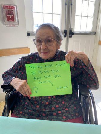 Lillian, San Simeon by the Sound resident sending her love