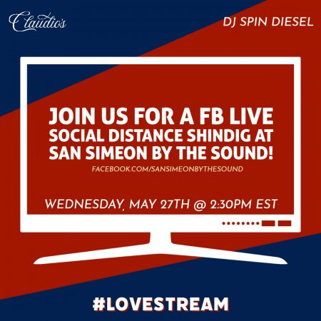 Facebook Live Social Distancing Shindig at San Simeon by the Sound flyer