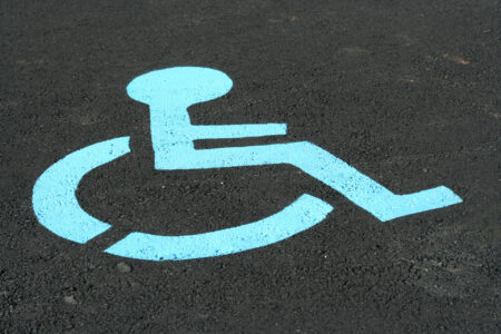 handicapped symbol in parking lot