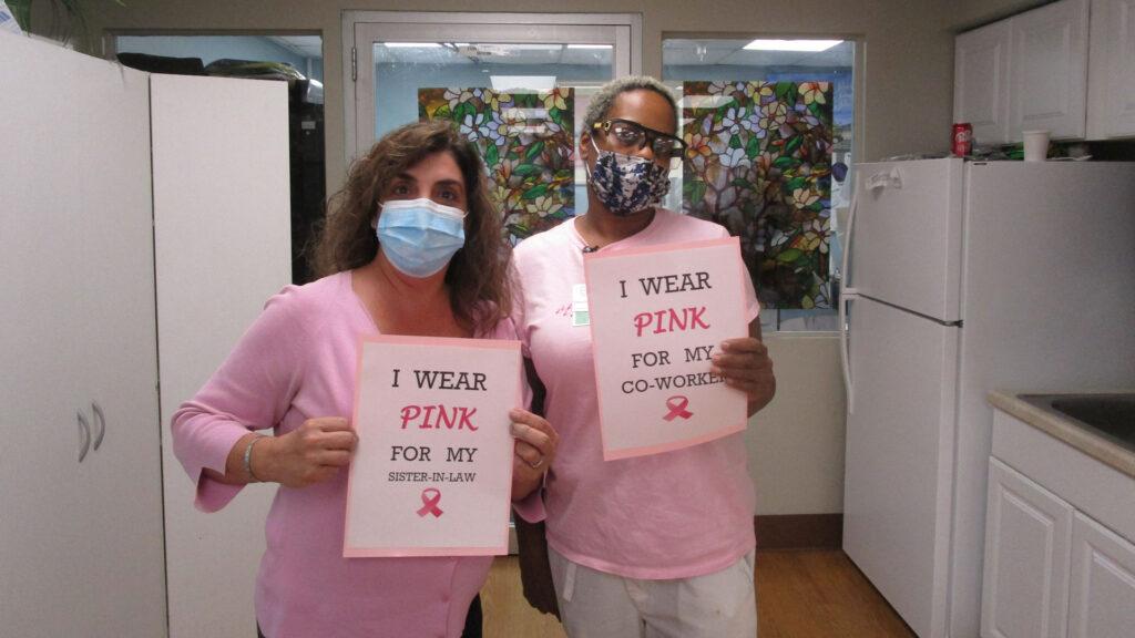 San Simeon staff celebrating Breast Cancer Awareness Month