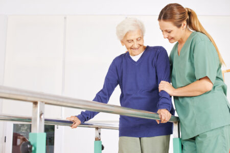 Relearning to walk with physical therapy