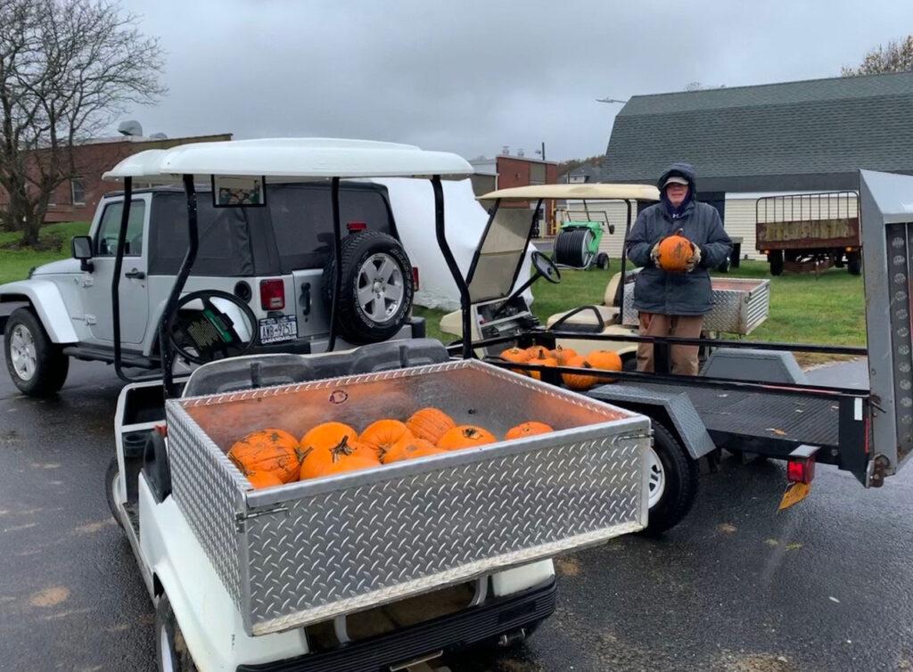 Halloween pumpkin delivery at San Simeon