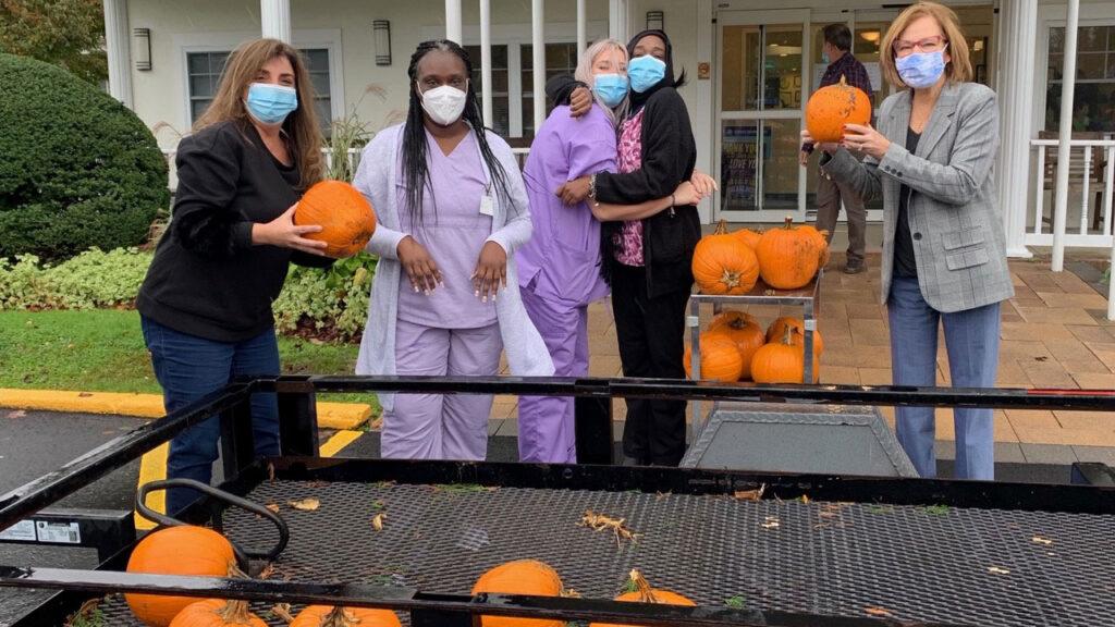 San Simeon Staff with Halloween pumpkins
