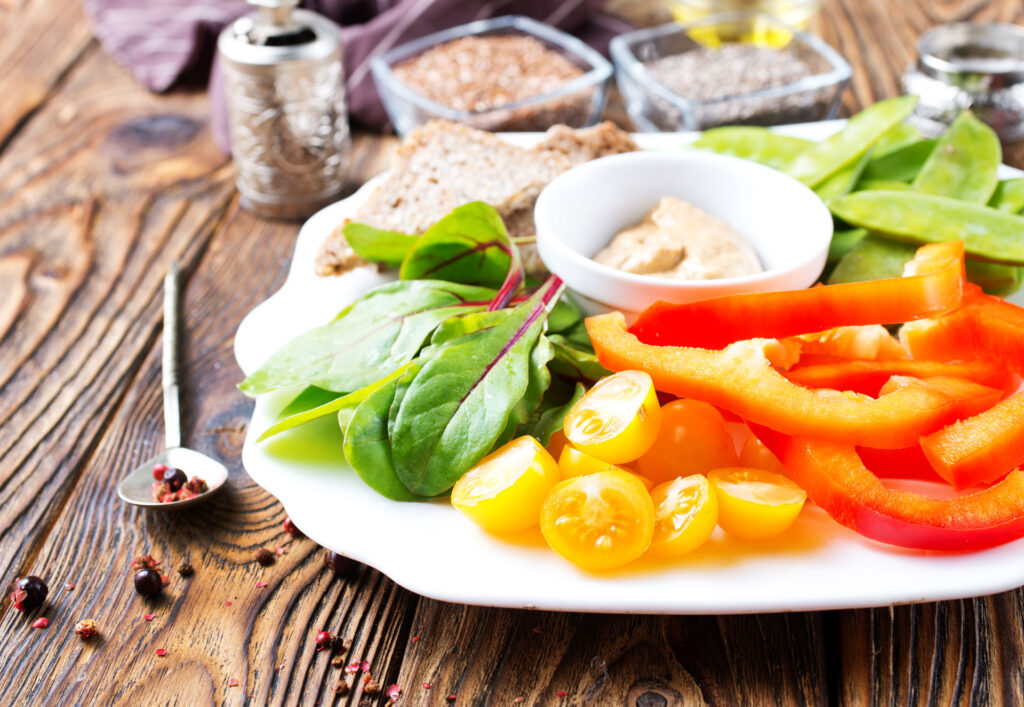 plate of healthy vegetables and other healthy foods