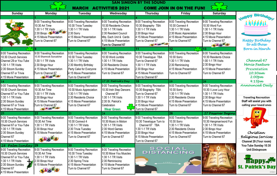 San Simeon March calendar of events